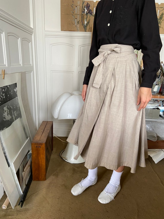 1970s Kenzo beige flannel wrap on midi skirt / sm… - image 5