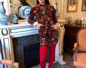 1980s Kenzo carpet dark red velvet jacquard two piece, blazer and mini skirt / extra small - small