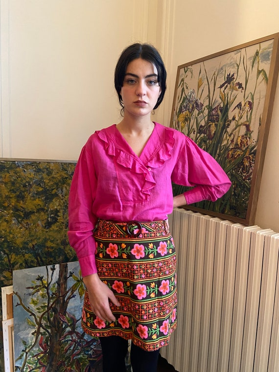 early 1980s Kenzo hot pink ruffled collar blouse,