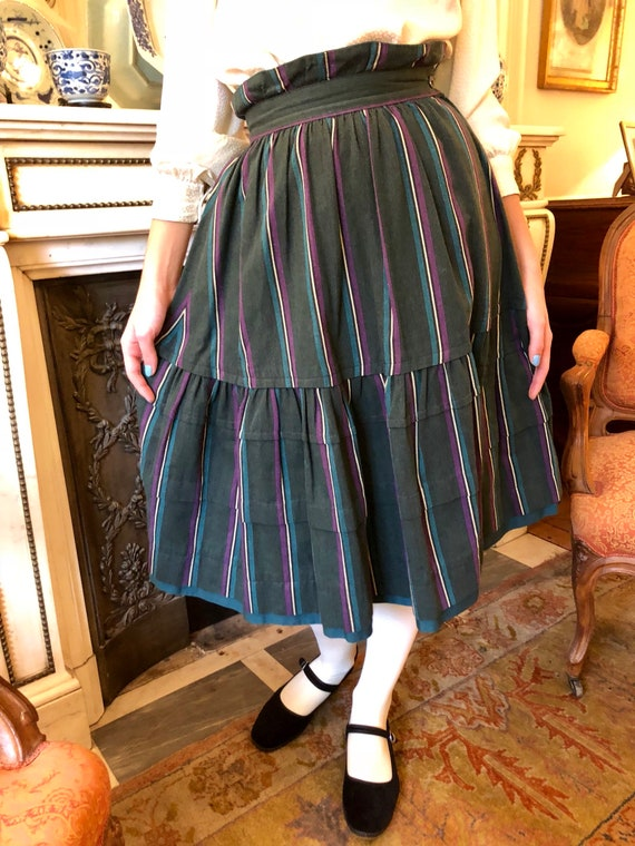 1970s Kenzo striped heavy cotton tiered skirt / e… - image 6