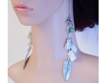 February creative challenge earrings! WHITEBIRDPLUME! metal and faux leather T:17 cm belicious delicious creation