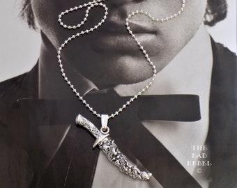 Original Men's Necklace!! TIBETAN SWORD!! Chain a ball balls long silver balls 50cm the Bad Rebel Collection boho chic