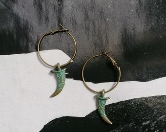 Original Creole Men's Earrings!! TOOTH!! Tooth, dagger retro patina old Metal bronze The Bad Rebel Collection boho chic