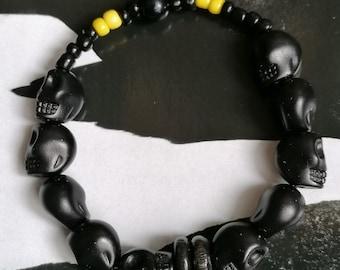 Original Bracelet !! Skully!! Black T.18cm elasticThe Bad Rebel boho chic collection