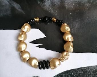 Original Bracelet !! SKULLY Golden!! T.18cm elasticThe Bad Rebel boho chic collection
