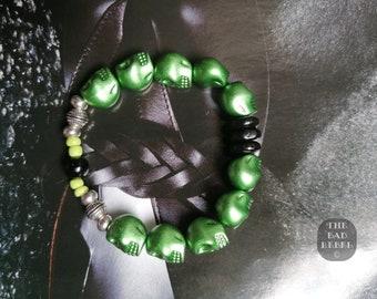 Original Bracelet !! Skully!! Green T.18cm elasticThe Bad Rebel boho chic collection