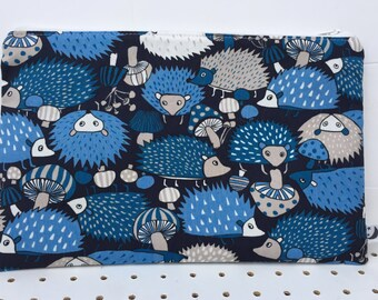 Japanese Cotton Blue Hedgehog Make-up bag, Hedgehog purse - zipper pouch,phone pouch, cosmetic purse,cosmetic bag, pencil case.