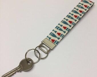 Fabric Wristlet - Fish wristlet - Key Fob, wristlet, keychain, keyring, key holder - fish key ring - Made in Cornwall.