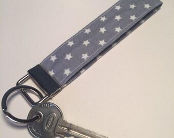 Grey Star Fabric Wristlet Key Fob, wristlet, keychain, keyring, key holder. Made in Cornwall.