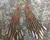 Native American Style Beaded Earrings - Toast With Jam - Long Beadwork Earrings - Casual Fringe Dangles - Southwestern Chic