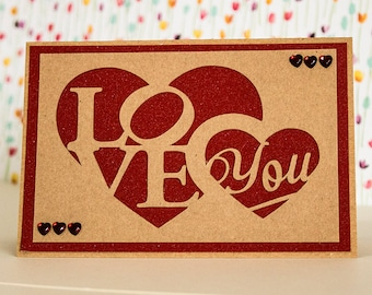 Wife valentine card etsy rustic kraft papercut valentine card love heart card i love you card anniversary card to my husband to my wife to my partner m4hsunfo