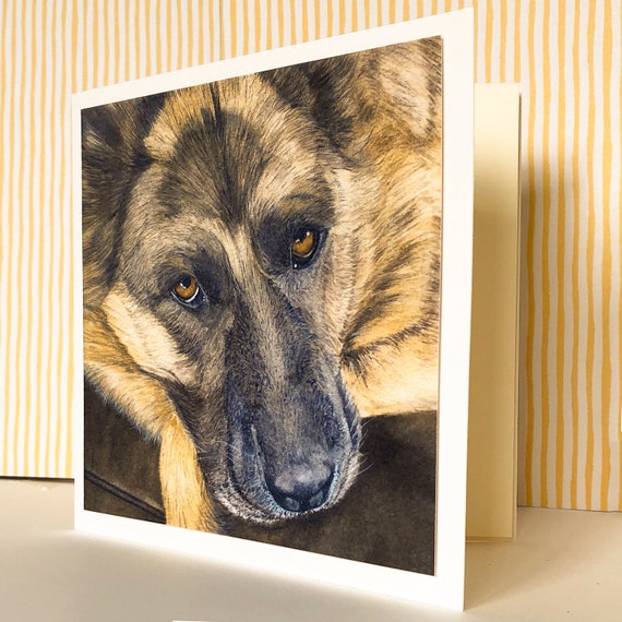 Watercolour Design German Shepherd Design Blank Card for any Special Occasion