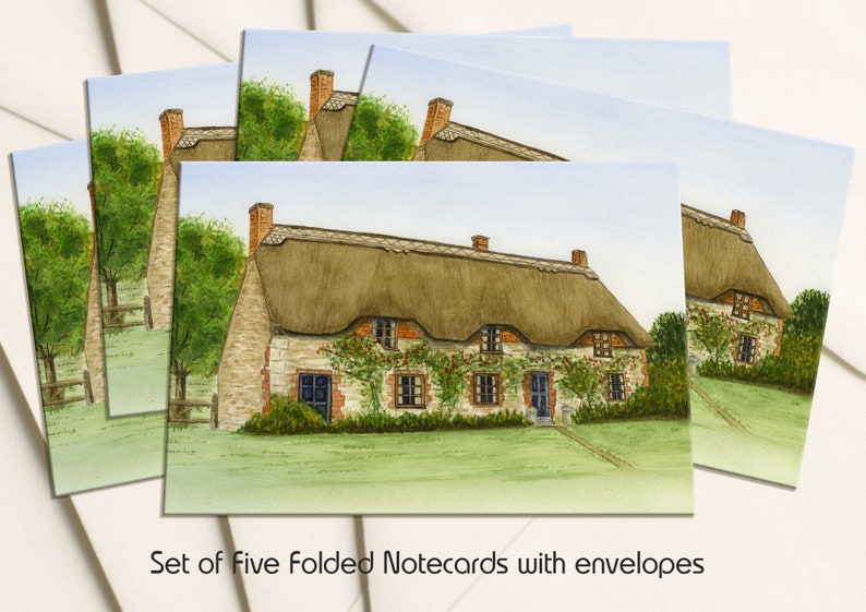 A Pack of 5 folded Notecards with Envelopes Thatched Cottage Notecards From and Original Landscape Watercolour Painting