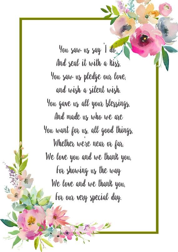 Hochzeit Danke Gedicht Eltern Der Brautgeschenk Mama Und Papa Geschenk Mama Und Papa Geschenk Hochzeit Gedicht Sofortiger Download Bedruckbare