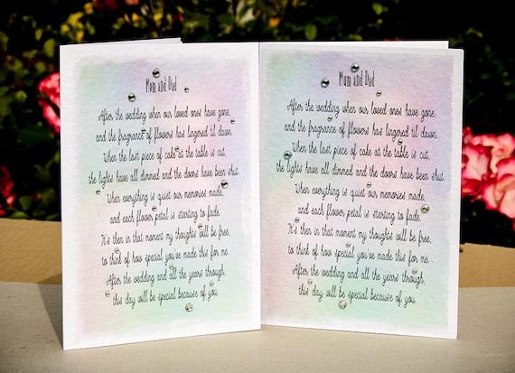 Hedendaags Gedicht van het huwelijk bruid om haar moeder en vader | Etsy JB-55