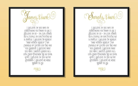Wedding Vows Print In Real Foil Bride And Groom Wedding Vows Wedding Gift Personalised Custom Anniversary Gift Valentines Gift