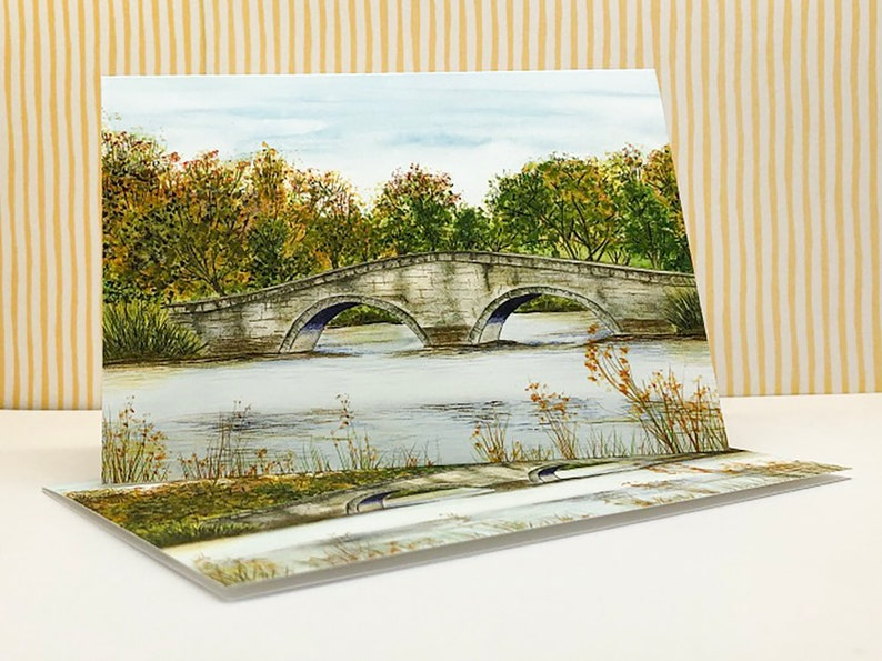 River Scene Landscape with Envelopes From and Original Watercolour Painting Writing Paper, A Pack of 5 folded Notecards