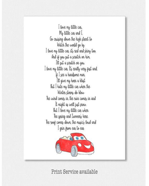 Kocham Mój Wiersz Samochodu Dla Kobiet Posiadających Swój Pierwszy Samochód Czerwony Samochód Poemat Typografia Wiersz Do Druku Druk Cyfrowy