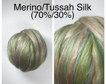 Multi Color Merino Silk Roving Green / Multi Merino Tussah Silk Top 70/30 / Green Merino Silk / 1lb / 16oz