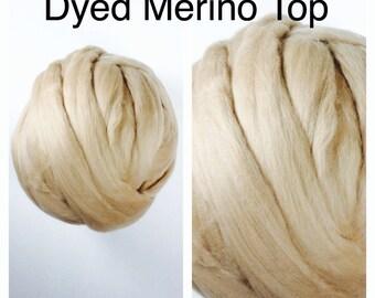 Cafe Au Lait Merino Top / Dyed Merino Roving / 2oz 4oz 8oz