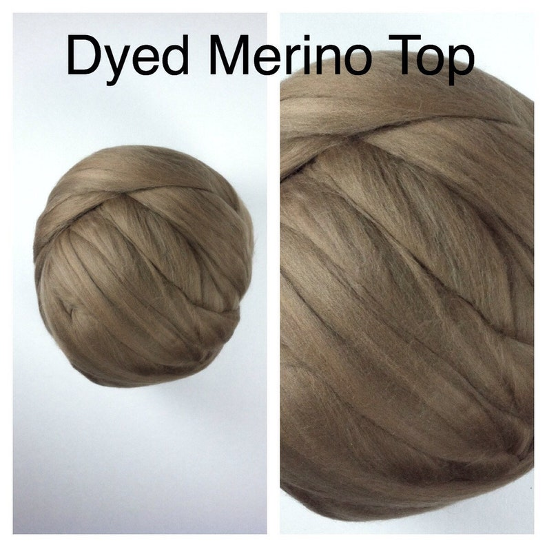 Mocha Dyed Merino Top  Dyed Merino Roving  Brown Merino Felting  2oz 4oz 8oz
