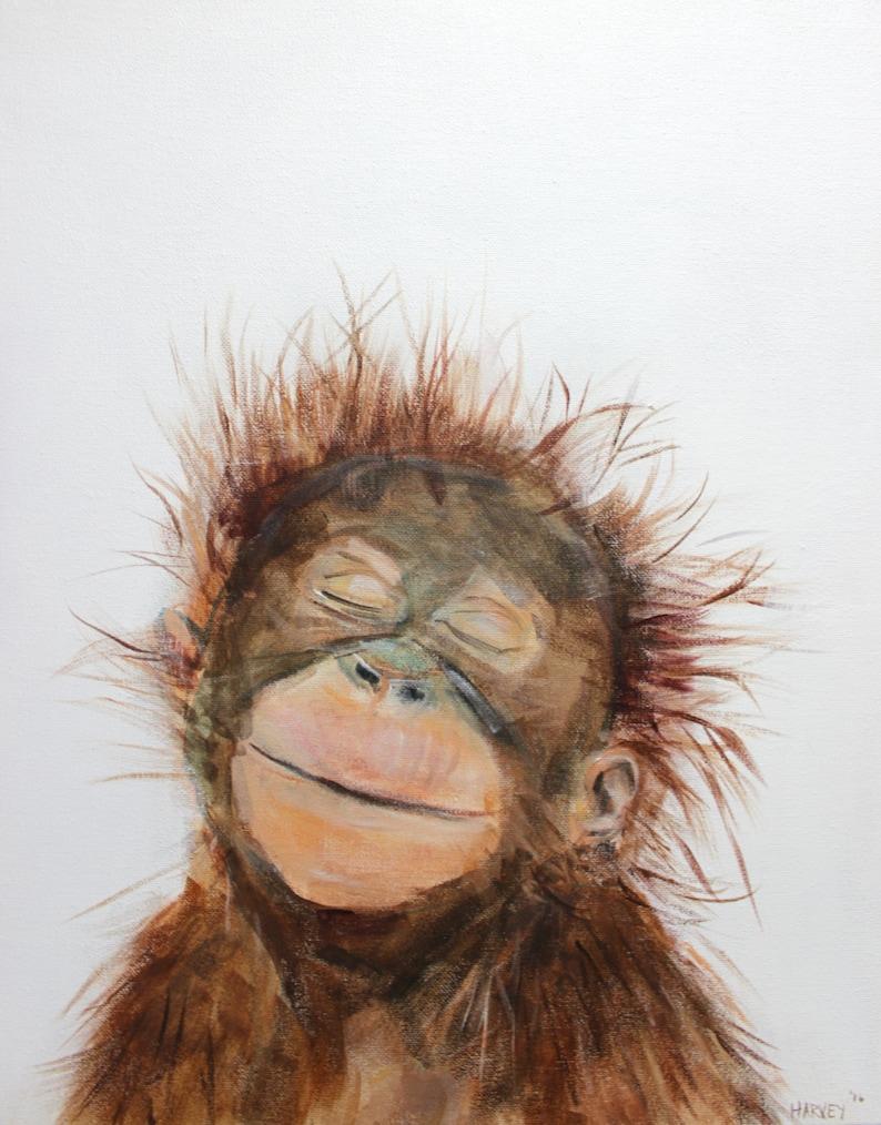 Little Orangutan print on canvas image 0