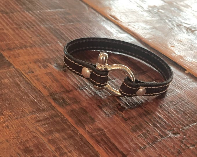Unisex Leather Bracelet. Leather Shackle Bracelet. Leather Cuff for him or her.