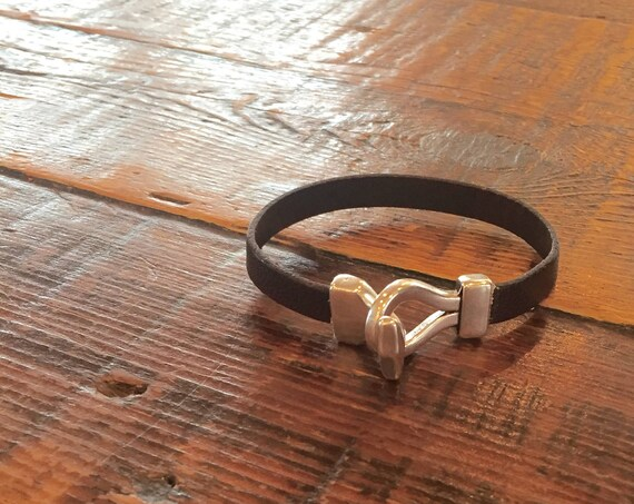 Men's Leather Hook Bracelet. Leather Cuff. Silver and Leather. Cuff. European leather.