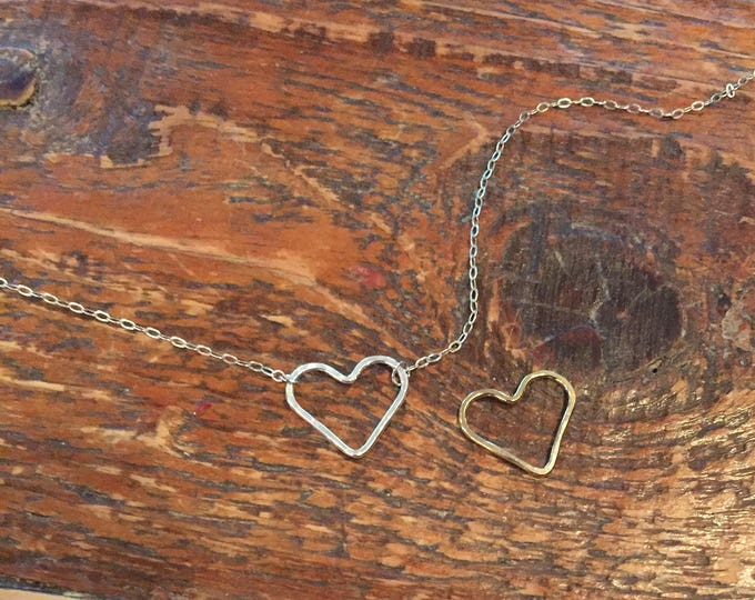 Hammered Heart Necklace. Gifts for her. Sideways Heart. Love Necklace. Sterling Silver Heart.