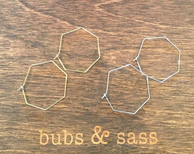 Geometric Shaped Hoop Wires. Medium Sized Geometric Hoop Earrings. Hammered.