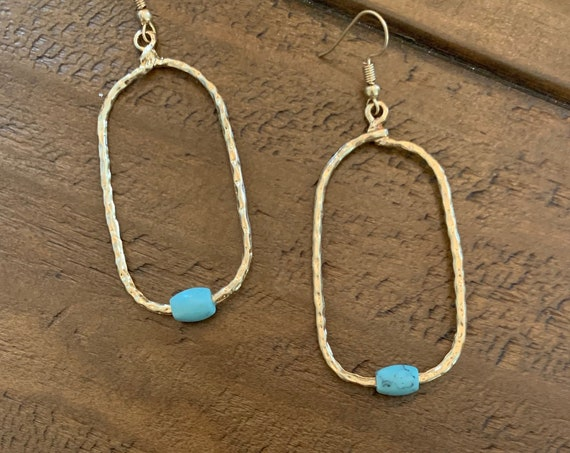 hammered turquoise hoop