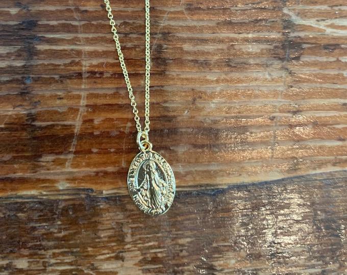 Coin Mary Necklace. Religious Coin Necklace. Coin Necklace