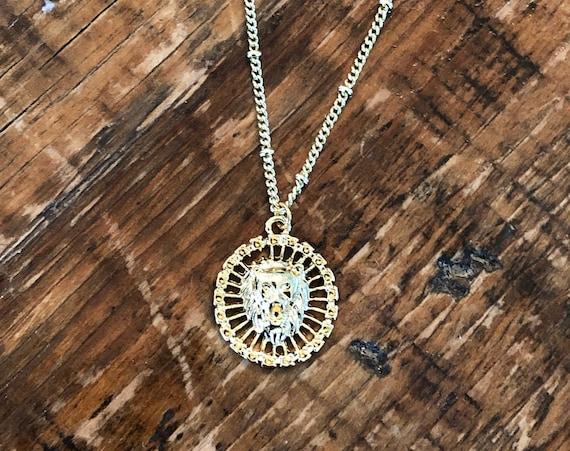 lion coin necklace pendant