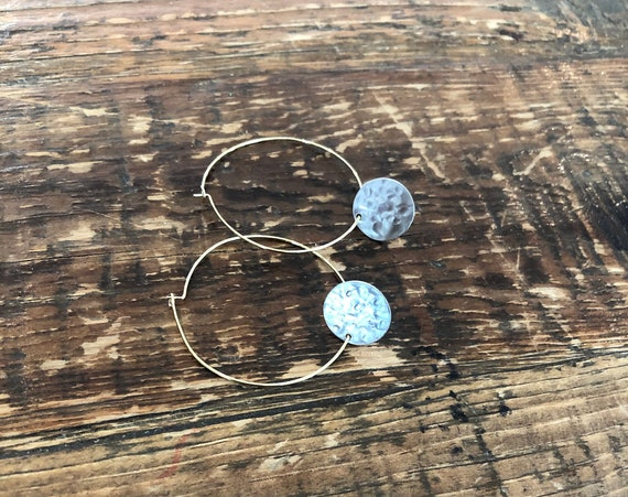 hammered circle dangle hoop earrings