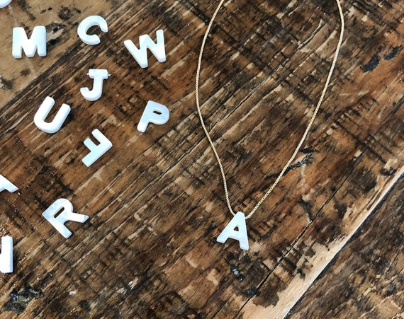 mother of pearl initial necklace. letter necklace. alphabet.