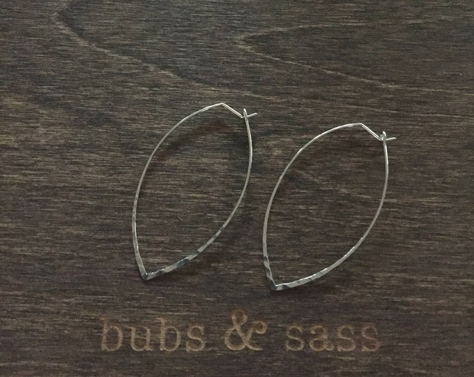 Hammered Marquis Wire Earring. Hoop Earring. Almond Shaped Earring. Marquis Earring.