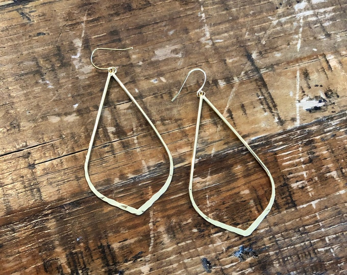 Large Teardrop Earring. Boho Earring. Large Gold Teardrop Hoop.