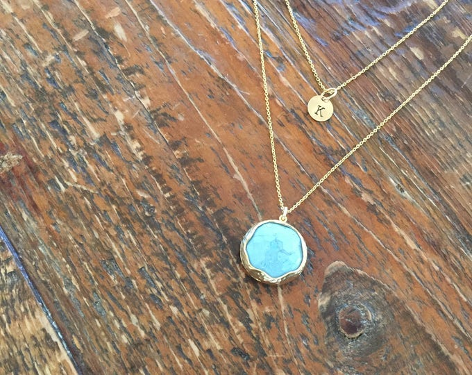 Turquoise Pendant. Gold Matte Plated Framed Stone. Blue Pendant. Layered Necklace.