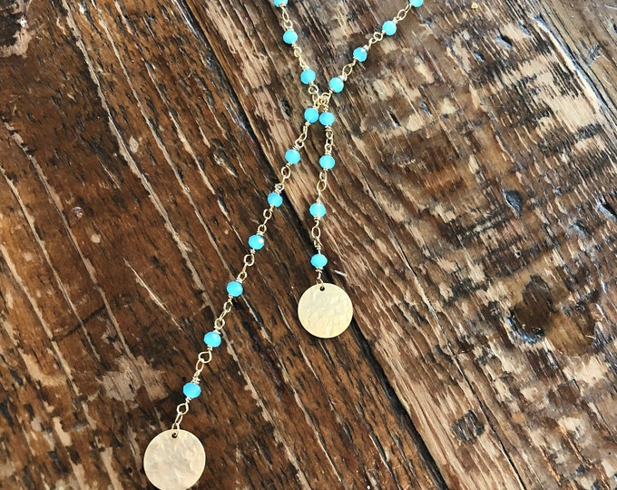 Turquoise/Black Rosary Bead Necklace. Beaded Necklace. Hammered Circles.