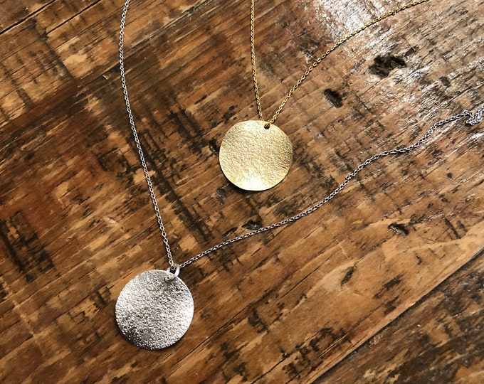 Wavy Coin Disc Necklace. Silver Coin. Gold Coin. Everyday Necklace