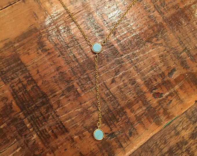 Double Pendant Necklace. Turquoise and White Marble.