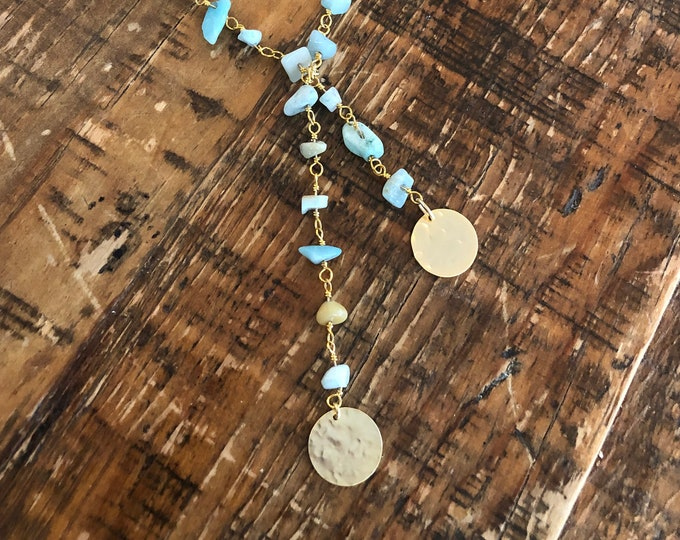 Turquoise Rosary Bead Necklace. Beaded Necklace.