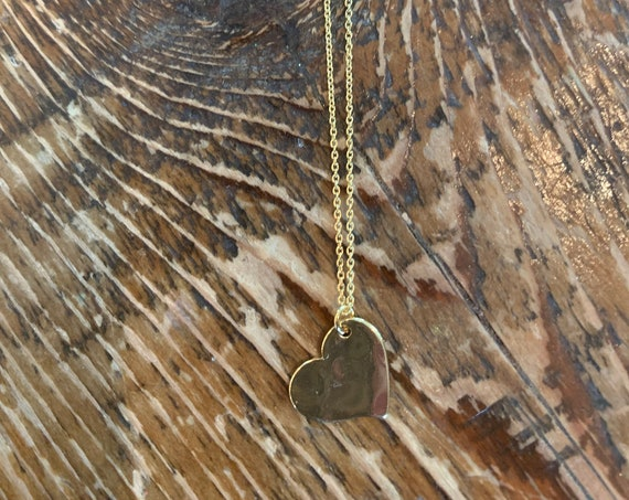Hammered Heart Necklace. Heart Necklace. Love Necklace. Valentines Necklace