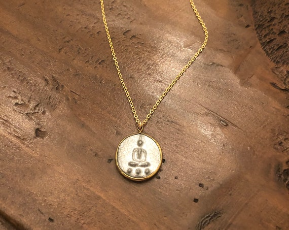 buddha coin. coin necklace. brass wrapped buddha necklace.