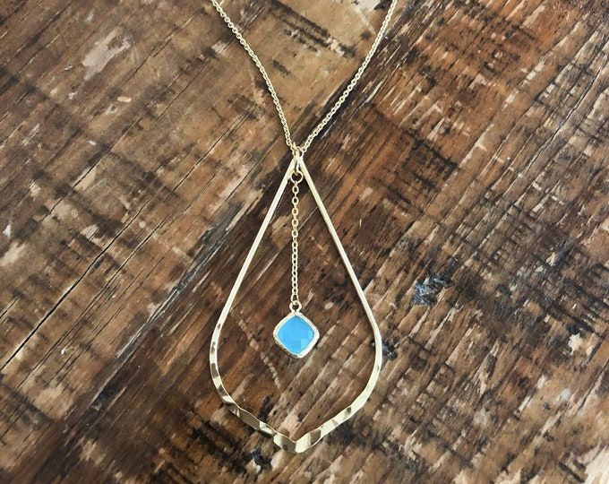Teardrop Glass Stone Hanging Pendant Necklace. Turquoise Necklace.
