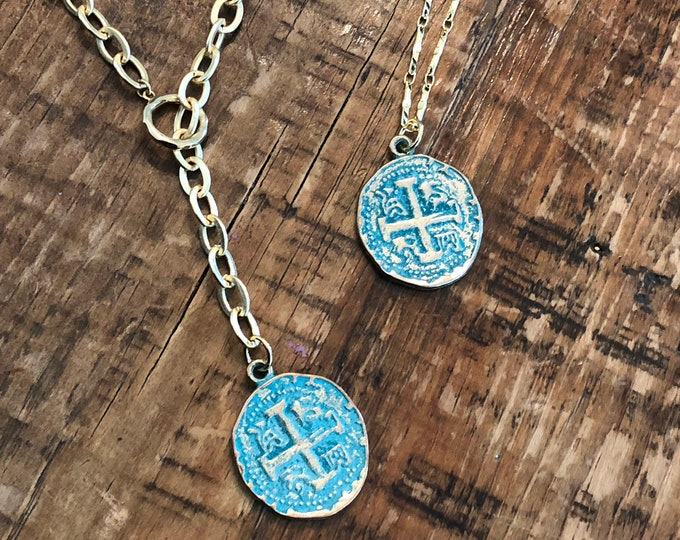 Turquoise Cross Coin Pendant. Vintage Looking Coin Cross Pendant