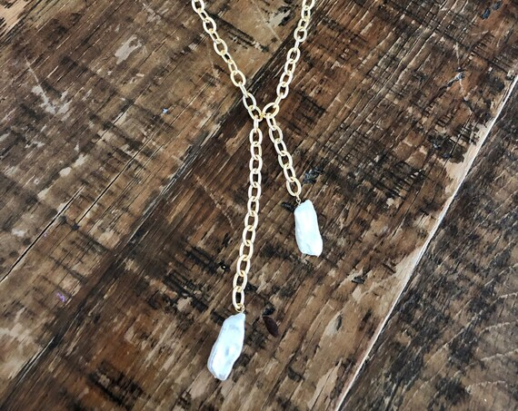 chunky fresh water pearl drop necklace