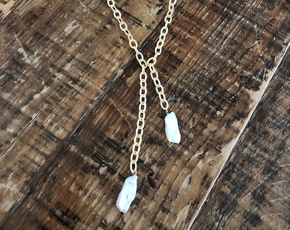 Chunky Fresh Water Pearl Drop. Rolo Chain Pearl Drop Necklace