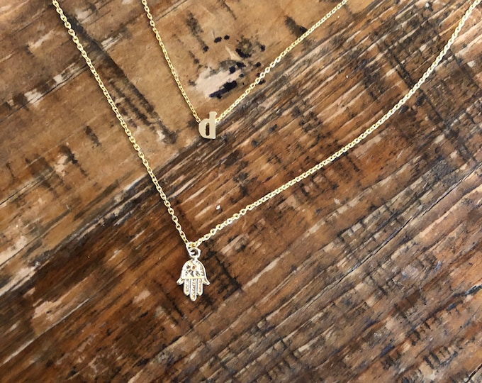 Hamsa Hand Necklace. Peace Necklace. Happiness. Hand of God Necklace.