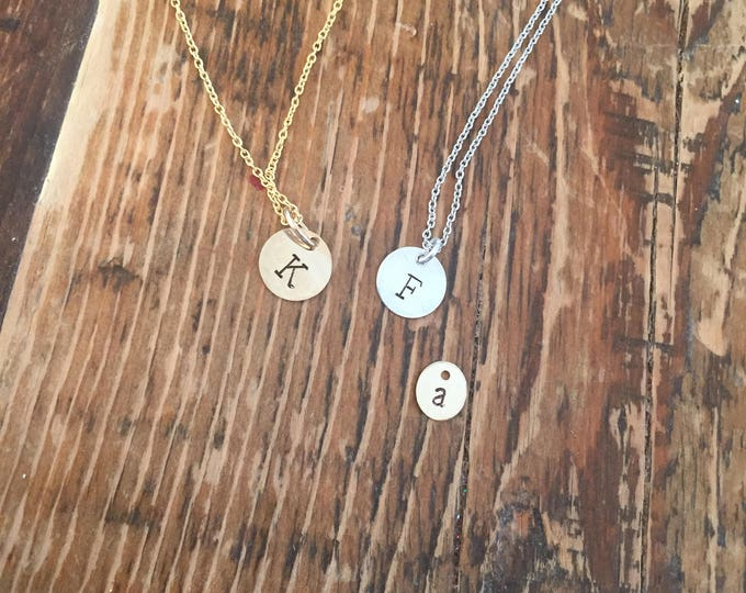 Initial necklace - hand stamped. 14k gold filled or sterling silver. Custom initials. Large or small disc.